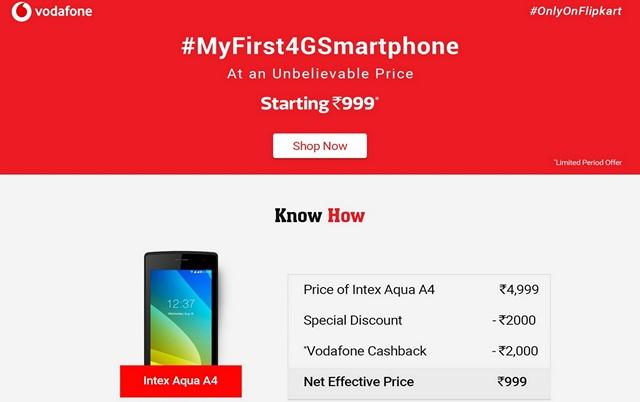 Vodafone and Flipkart Team up to Offer 4G Smartphones Starting from ₹999