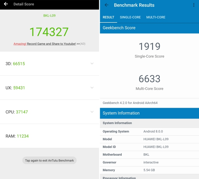 Honor View 10 Benchmarks