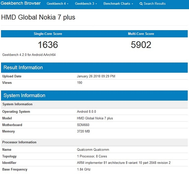 Nokia 7 Plus with Snapdragon 660 Spotted on Geekbench; Tipped for MWC Launch