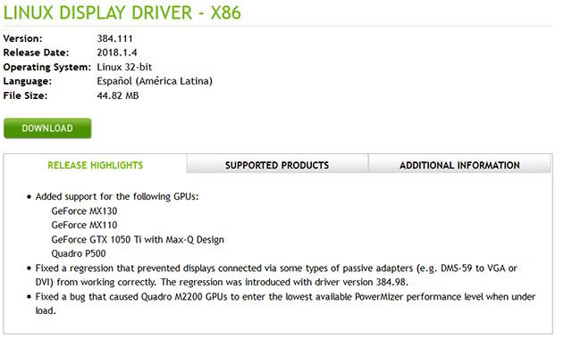 Nvidia display driver update