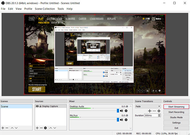 OBS Start streaming