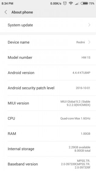 Xiaomi Releases Android KitKat-based MIUI 9 for the Redmi 1s