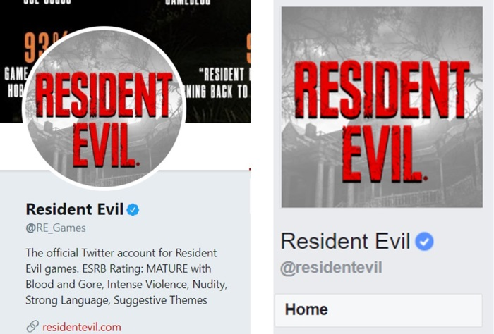Resident Evil's Twitter Handle (left) and Facebook Handle (right)