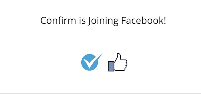 confirm joining facebook