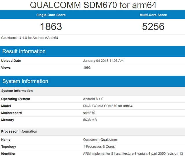 Qualcomm Snapdragon 670 Geekbench Scores Rival Snapdragon 835 Performance