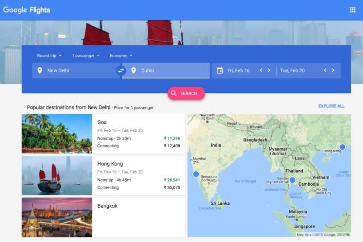 google flights featured