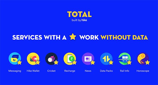 Total By Hike is a Bundle of Internet Apps Which Run Without Mobile Data