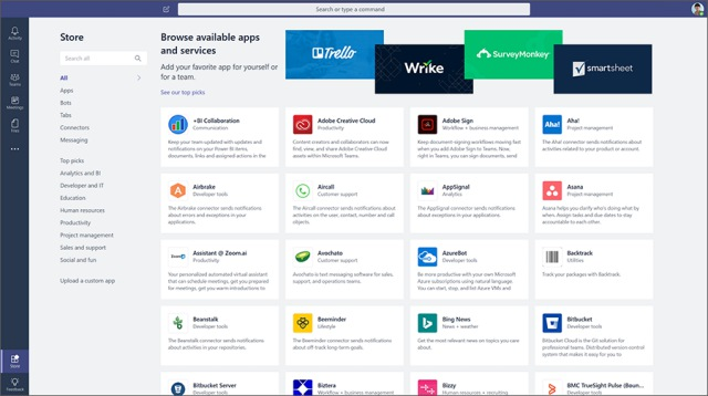 microsoft teams app store