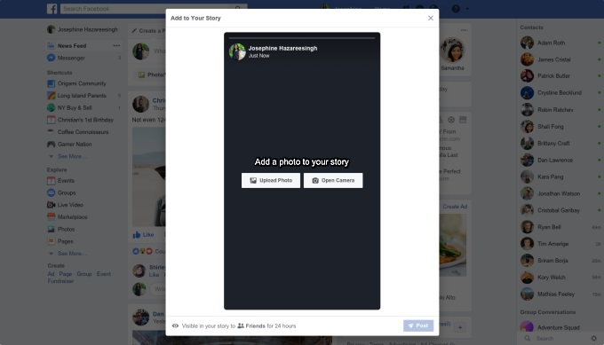 Facebook is Testing the Ability to Create and Upload Stories From Desktop
