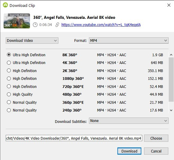 8K 360-Degree Video Download