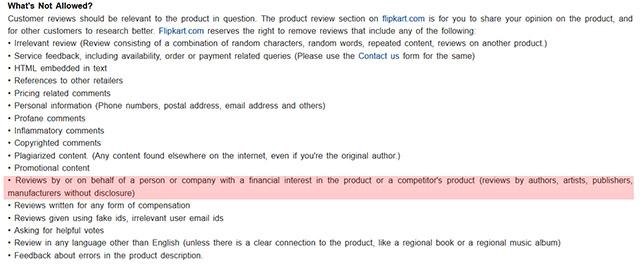 Flipkart Review Guidelines