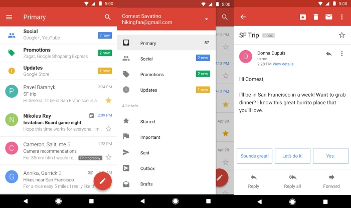 Gmail Go Screens