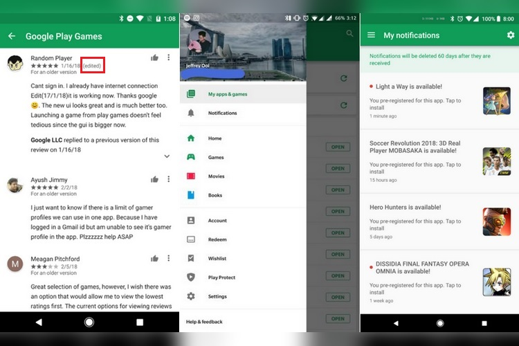 Google Play Store Update Brings Notification Section and Public Edit