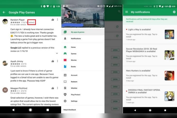 Google Play Store Update Brings Notification Section and Public Edit History of Reviews