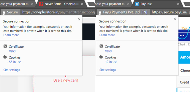 OnePlus and Samsung Payments Page