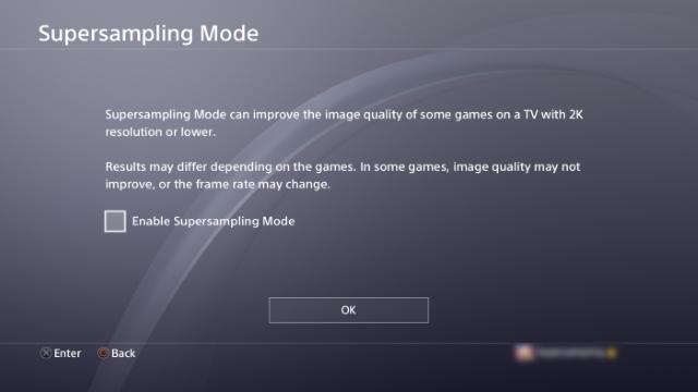 PS4 Firmware Update Supersampling