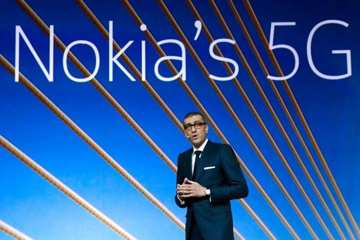 Rajeev Suri, Nokia's President and Chief Executive Officer, speaks during the Mobile World Congress in Barcelona