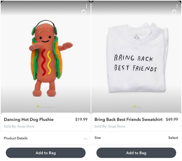 Newly Launched 'Snap Store' Brings In-App Merchandising to Snapchat