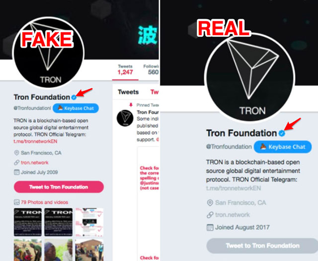 TronFoundation Real vs Fake Twitter