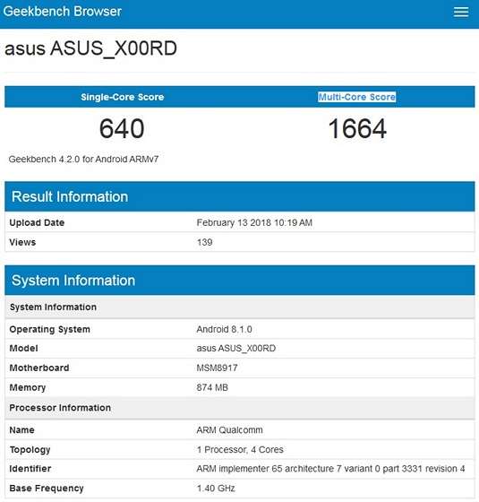 Rumored Asus ZenFone 5 Lite Spotted on Geekbench With Snapdragon 425, Android Oreo