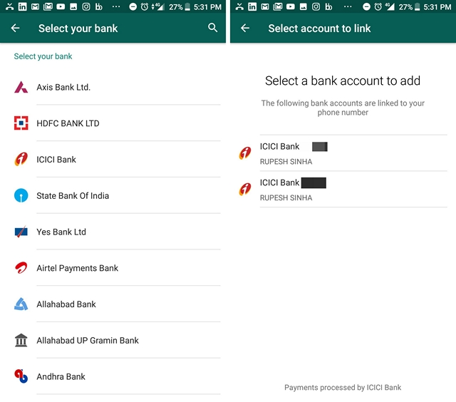 WhatsApp Payment Bank Account