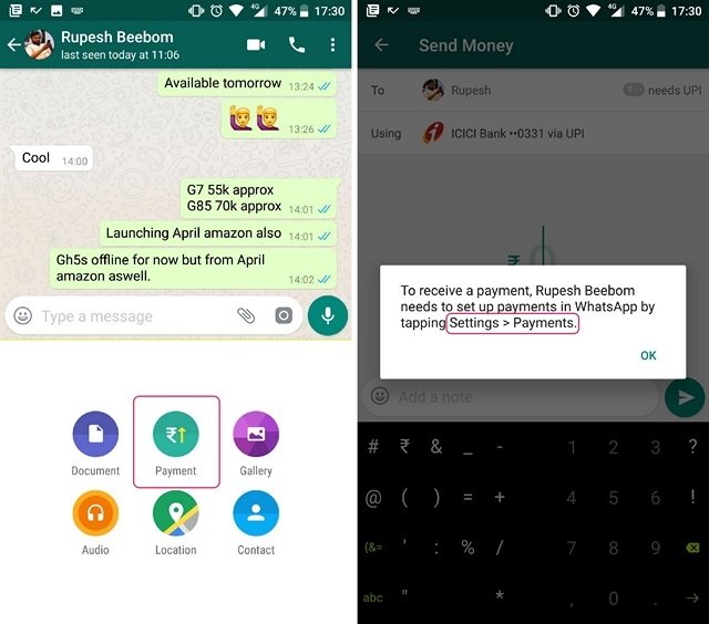 WhatsApp Payments Set up