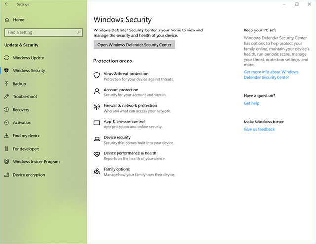 Windows 10 Windows Security