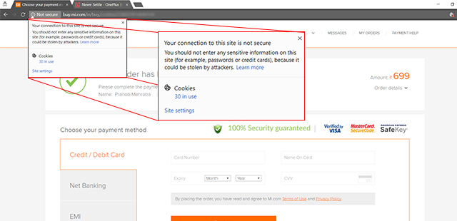 Xiaomi India website not secure