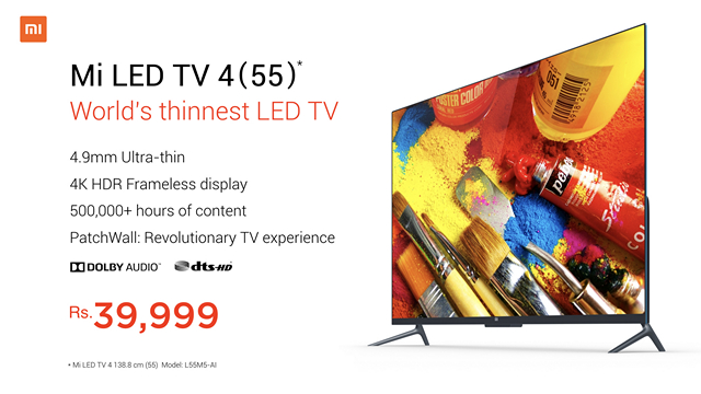 Xiaomi Launches 55-inch Mi TV 4 in India for Rs. 39,999