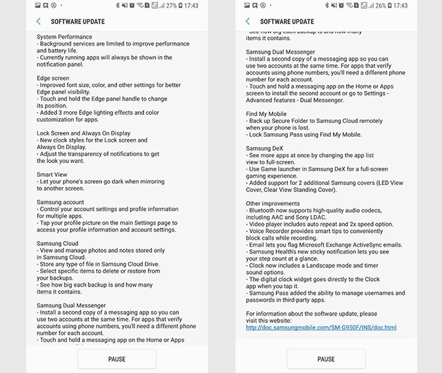 Android Oreo update for Galaxy S8