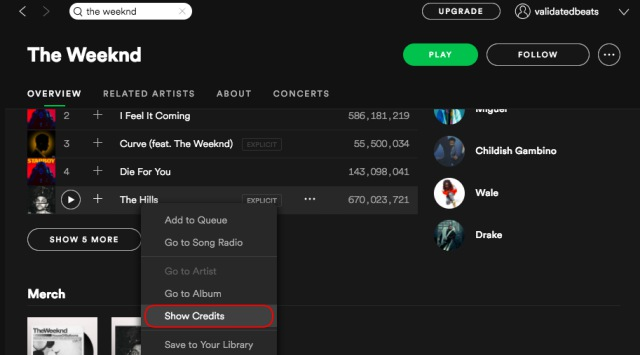 spotify show credits