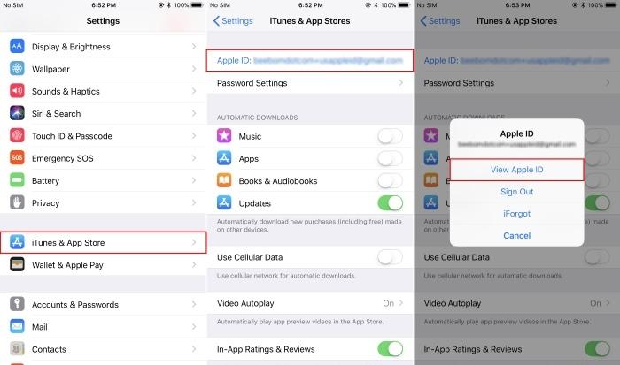 App Store View Apple ID