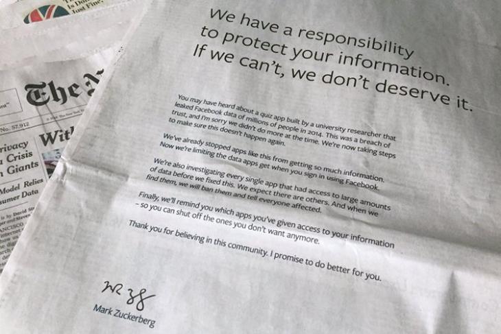 Facebook Cambridge Analytica Apology AP Image