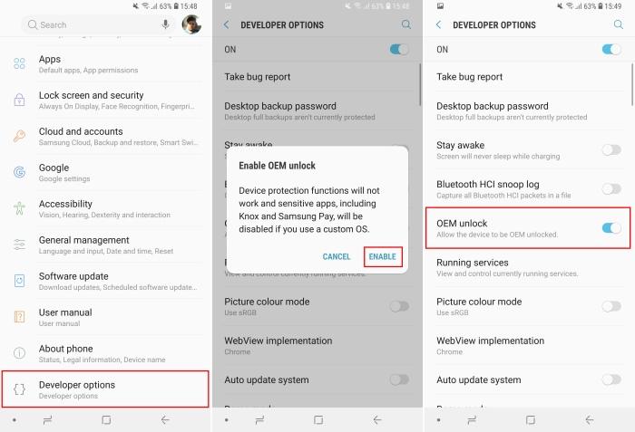 Galaxy S9 OEM Unlock