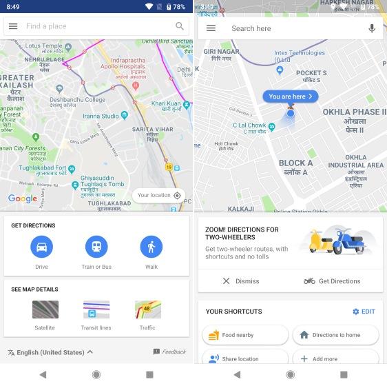 Google Maps Go vs Google Maps