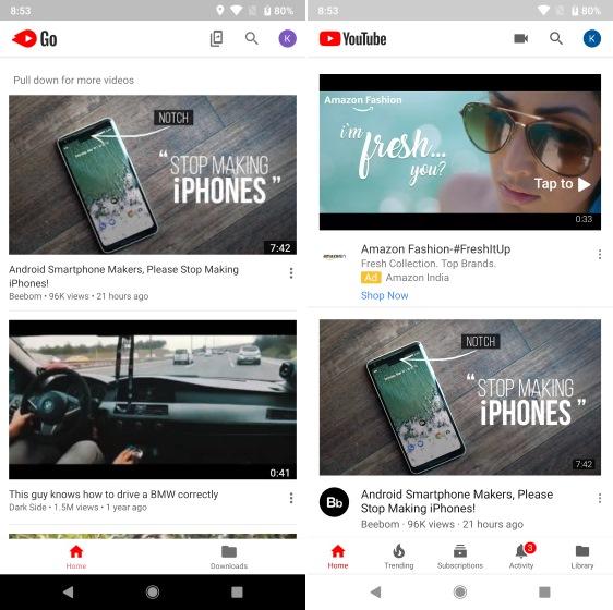 YouTube Go vs YouTube