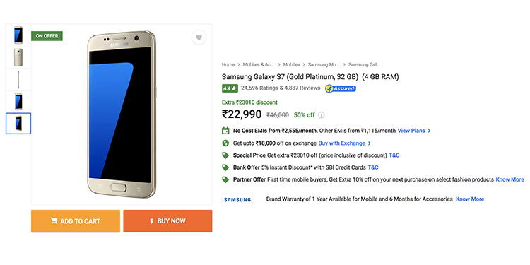 Get Samsung Galaxy S7 For Only ₹22,990 on Flipkart Right Now