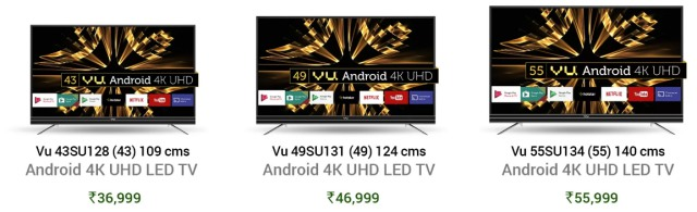 Vu Debuts Android-powered Smart 4K LED TVs in India; Starting At ₹36,999