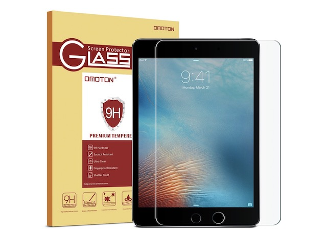 4. OMOTON Ultra Clear Tempered Glass for iPad 2018