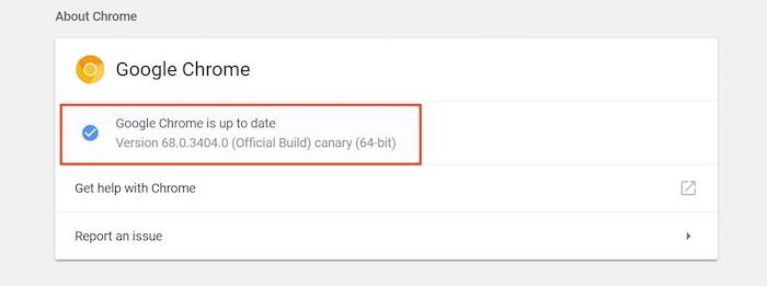 Google Chrome-Versionsnummer