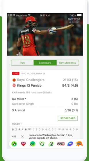 Hotstar's new in-match UI for IPL 2018 (Image: Hotstar)