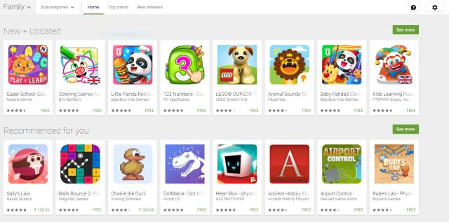 The Family section on the Google Play Store