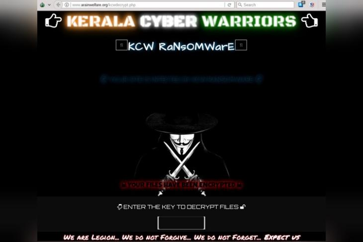 Team Kerala Cyber Warriors Strikes Again, Infects Pakistan Websites with Ransomware