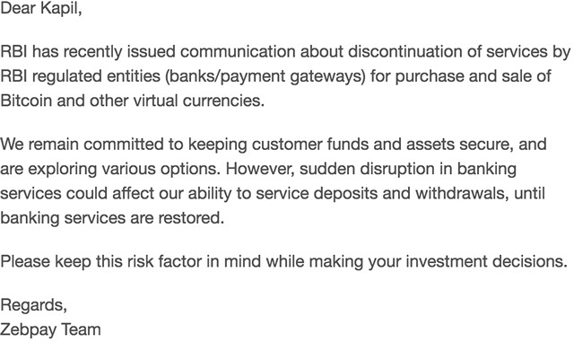 After RBI, Crypto Exchanges like Zebpay Are Warning Customers About Investment Risks