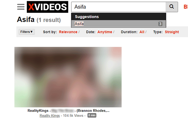 The only video that Xvideos shows does not have any tags that should show it as a search result for Asifa