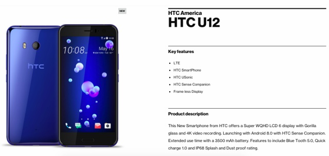 htc u12 verizon official page
