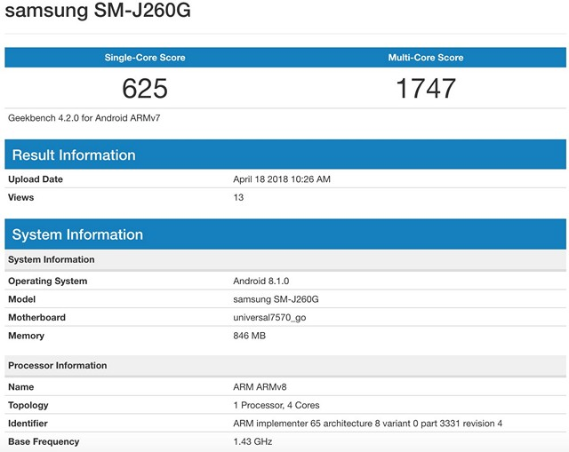 Samsung's First Android Go Phone Hits Geekbench