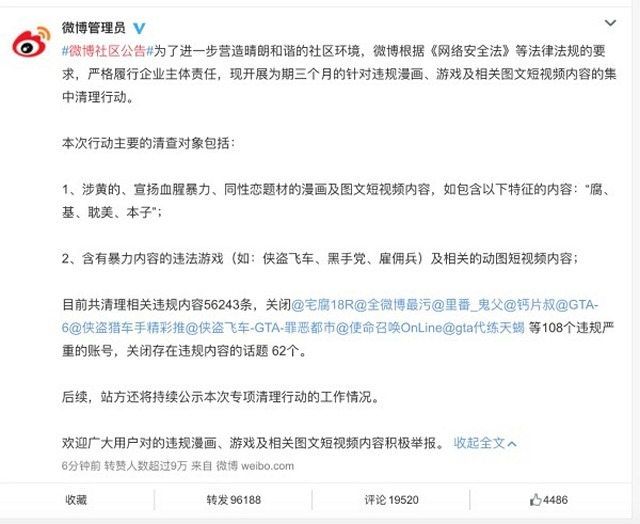 China's Weibo Bans Violent, Sexual and Gay Content on its Platform