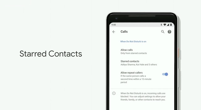 Android P starred contacts