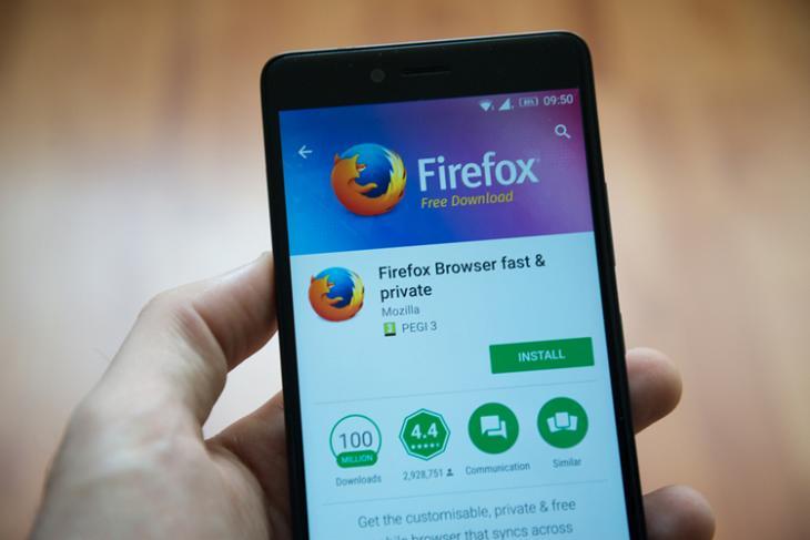 Firefox Android Shutterstock website